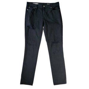 GAP Black Distressed Girlfriend Jeans 29 Tall